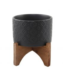 5inch Indian Ceramic Planter ON WOOD STAND MATTE BLACK
