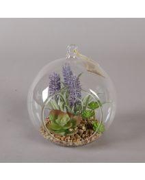 GB3670-Glass Globe Succulent w/ LAV, LG