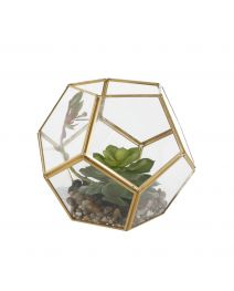 GS3969-Glass Soccer Terrarium Gold